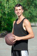 Young basketball player with ball