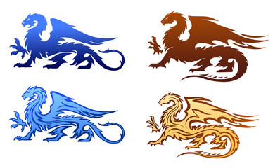 Fire Dragons Silhouettes Set