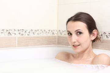 woman in milk bath
