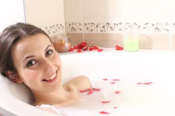 woman in milk bath