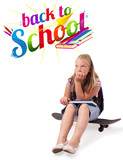 Girl on skateboard with back to school theme isolated on white