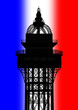 Eiffel Tower Top 3D Render on French Flag