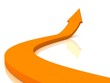 Orange arrow on white surface