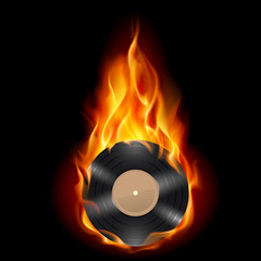 Vinyl record burning symbol