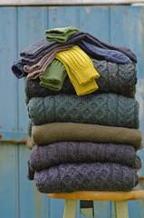 Irish wool knitwear in rural setting