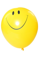 smiley faced balloon isolated on white background.