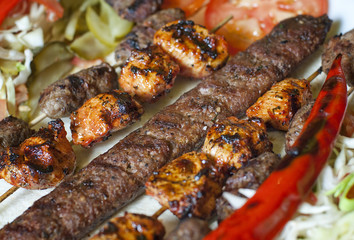 Selection of traditional turkish kebab