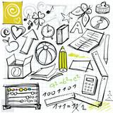Fototapety back to school doodles