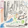 back to school doodles - pencils, pens and scribblings