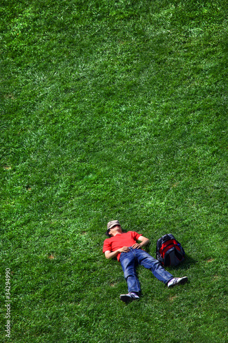 Relaxing on the green grass!