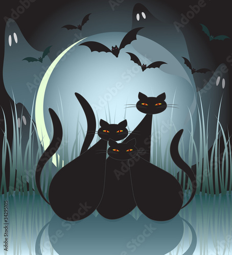 Halloween cats, bats and ghosts by moonlight