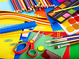 Close up of school supplies.