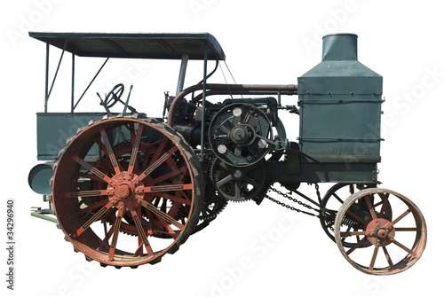 oil pull tractor ran on kerosene, isolated