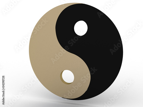 Yin yang sign on a white background №1