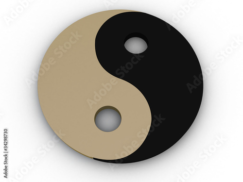 Yin yang sign on a white background №2