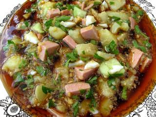russian cold vegetable soup on kvass base - okroshka