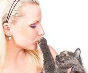 Blonde and cat