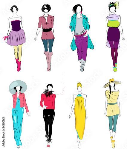 Stylized fashion models - 34300163