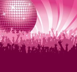 Discokugel mit Fans in Pink