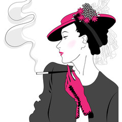Elegant vintage fashion lady