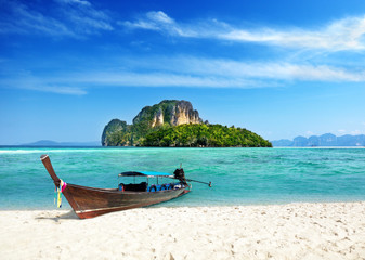 long boat and poda island in Thailand