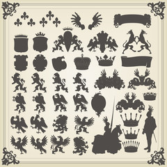 Heraldic silhouettes set of many vintage elements vector