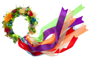 Wreath with satin ribbons, symbol of National Ukrainian folk cos
