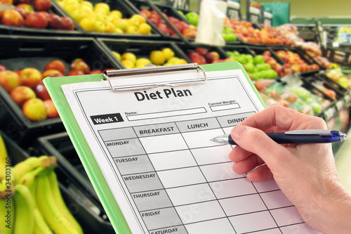 Keuken foto achterwand Boodschappen Hand with Pen Writing a Diet Plan by Supermarket Fruit
