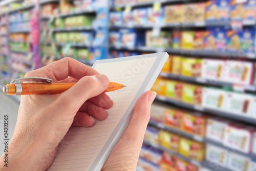 Writing a Shopping List in the Supermarket