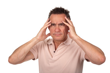 Attractive Middle Age Man Holding Head in Pain with Headache