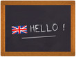 ardoise hello avec drapeau anglais