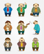 cartoon boss and Manager icon set.