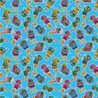cartoon diver seamless pattern