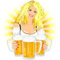 Ragazza Bionda con Birra-Blond Girld and Beer-Oktoberfest-Vector