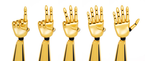 Golden 3d robotic hands showing numbers