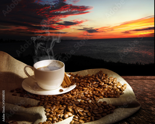 Steaming cup of coffee - 34308505