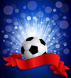 vector soccer ball on a blue background with a red celebration r