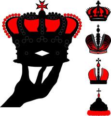 human hand holding crown illustration