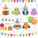 Fototapety Set of vector birthday party elements with cute owls