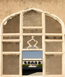 Handcrafted marble mesh window in Lahore Fort