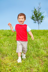 Exciting kid running