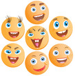 Seven cheerful smilies