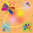 Oval colorful invitation card with butterflies and splash