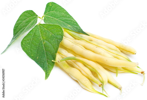 yellow kidney beans with leaf isolated on white