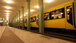 Train arrives in Berlin subway station Alexanderplatz