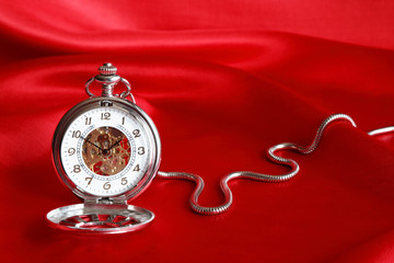 Pocket Watch On Red