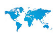 Blue world map silhouette with clipping path