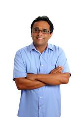 indian latin businessman glasses blue shirt on white