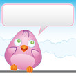 Pink bird with empty balloon