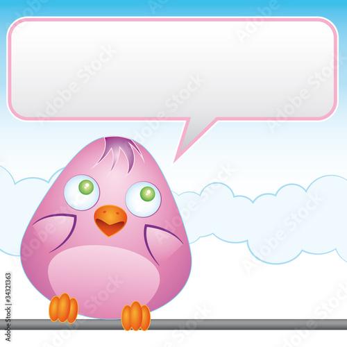 Pink bird with empty balloon